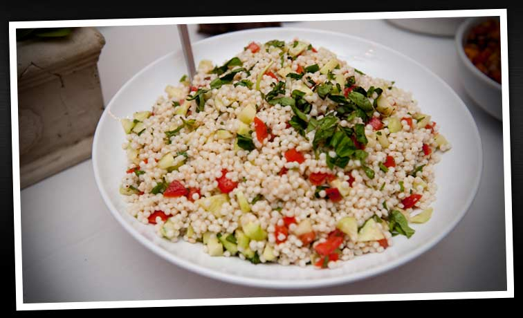 Israeli cous cous salad with fresh herbs